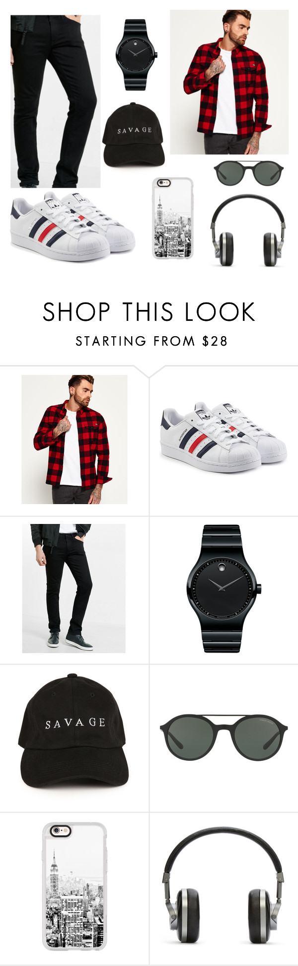 """Untitled #17"" by jessicamoz ❤ liked on Polyvore featuring Superdry, adidas Originals, Express, Movado, Giorgio Armani, Casetify, Master & Dynamic, men's fashion and menswear"