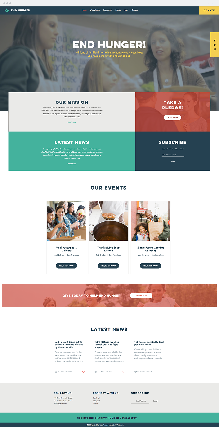 Food Charity Website Template Nonprofit Website Design
