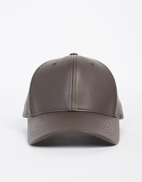 86c89dc935b91a This Sporty Leather Baseball Cap comes in a brown or dark gray color of  your choice. Made from a faux leather material. This cap featur