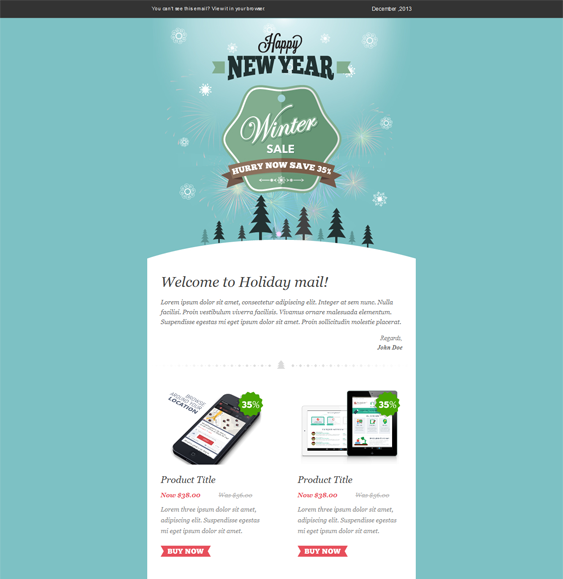 free mailchimp templates - winter sale christmas holiday email template web ui