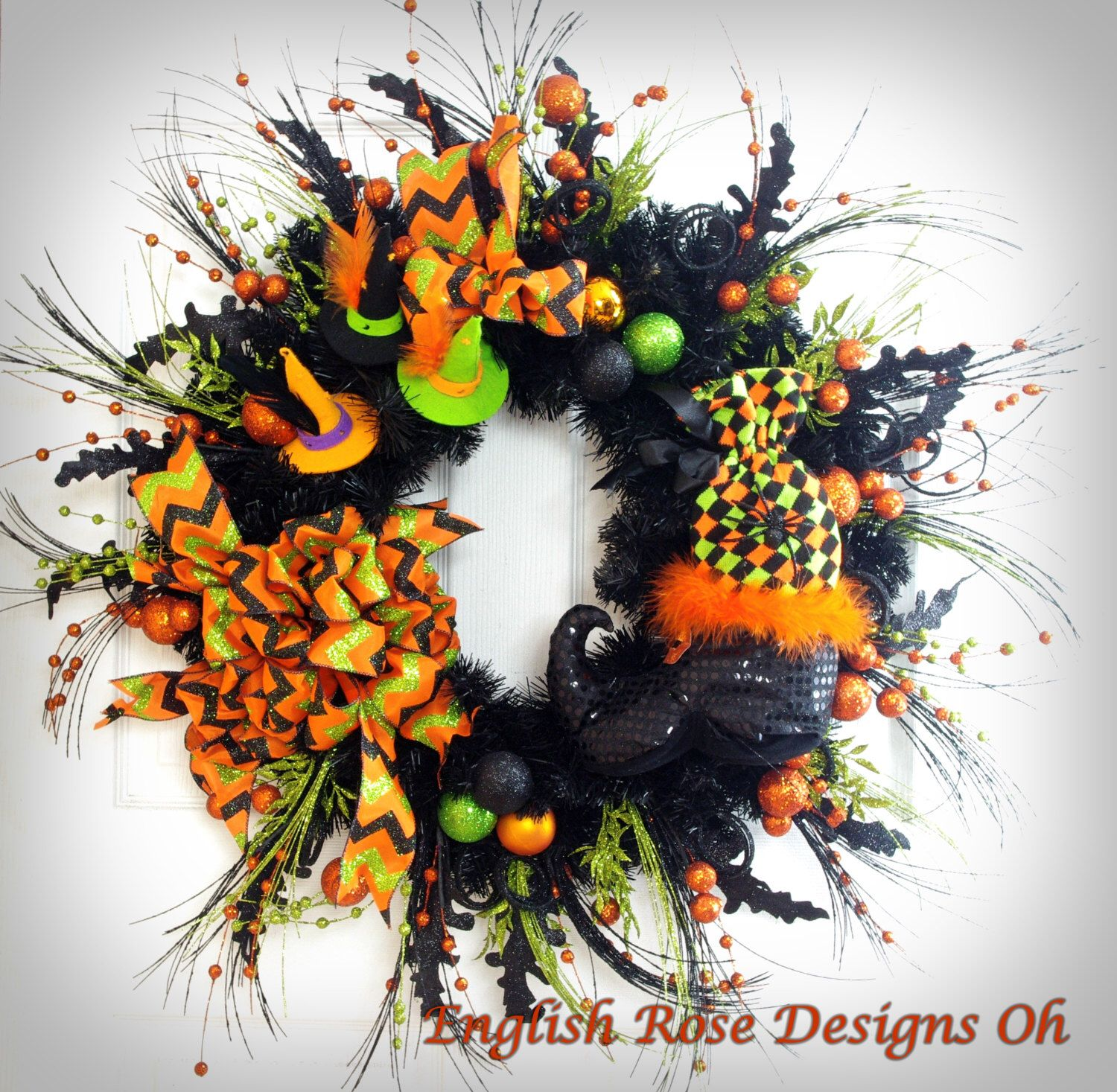 Halloween Wreath * Witch Wreath * Whimsical Wreath * Black and - Whimsical Halloween Decorations