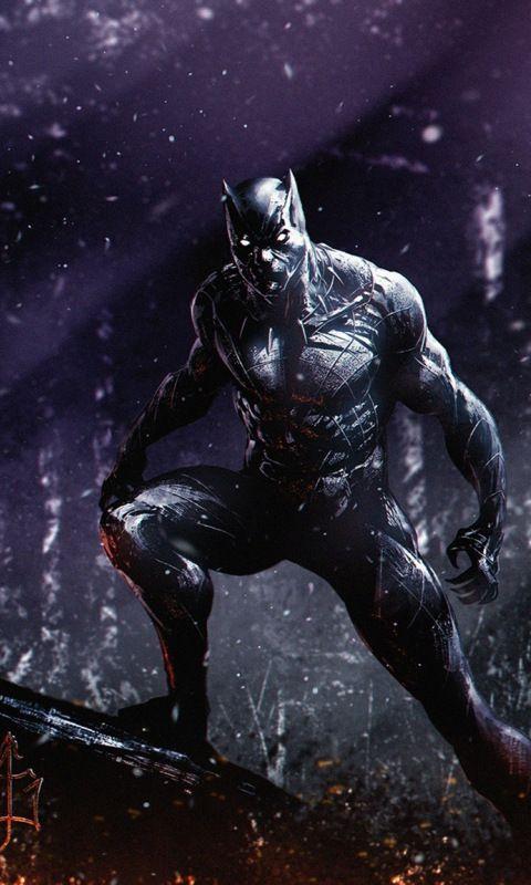 Dark, superhero, marvel, black panther, 480x800 wallpaper