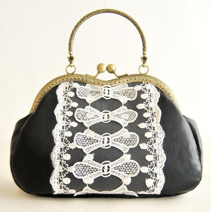 Handmade Black White Hard Bow Sweet Gentlewomen Chain Shell Bag Metal Frame Top-Handle Mouth Gold Package Women's Handbag Totes