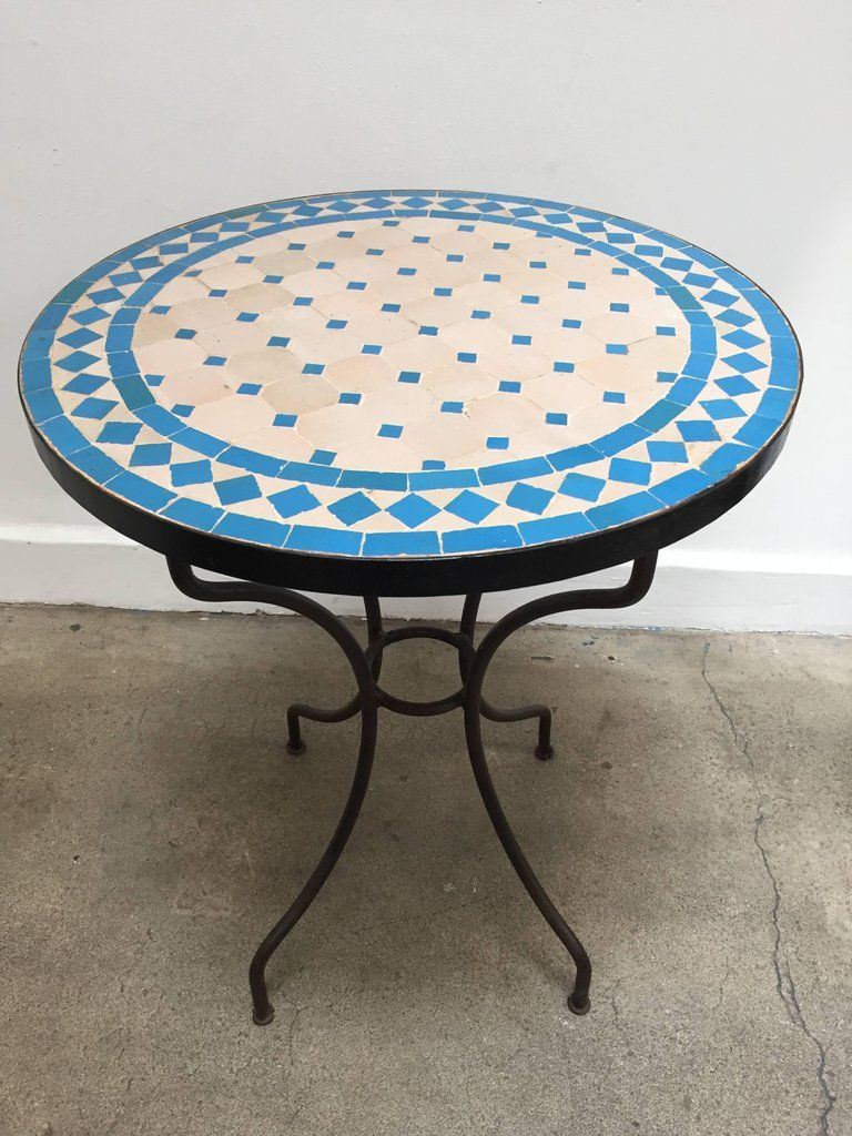 Moroccan Mosaic Tile Bistro Table On Iron Base Handmade By Expert