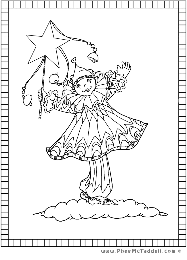 Clown with Star Bells wwwPheeMcFaddell