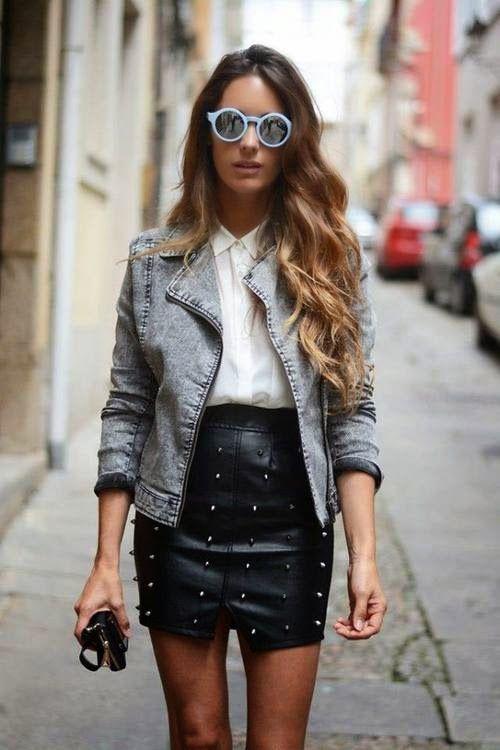 gonna pelle   Stile di moda, Outfit giacca di jeans e Giacca
