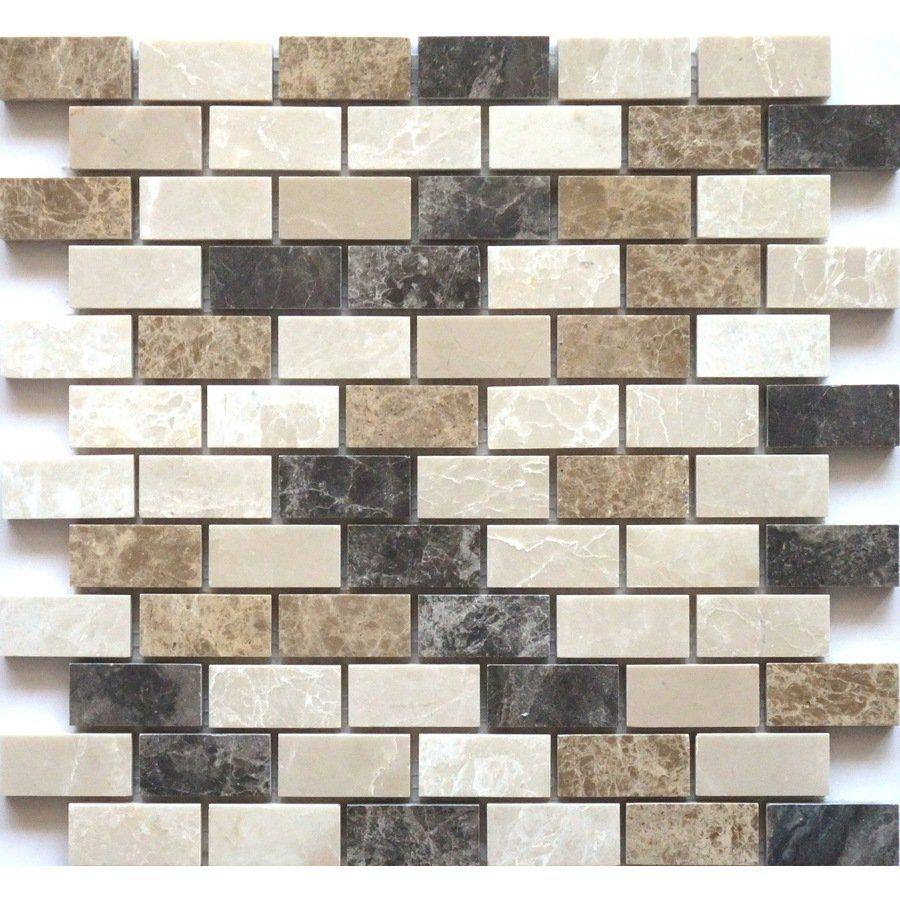 faber 12-in x 14-in blend mosaic polished brown natural stone wall