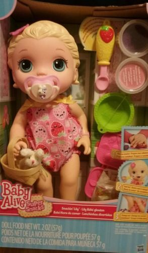 Sale Baby Alive Cute Snackin Lily Super Snacks Blonde W Free Bunny Pacifier Baby Alive Toddler Girl Toys Baby Alive Dolls