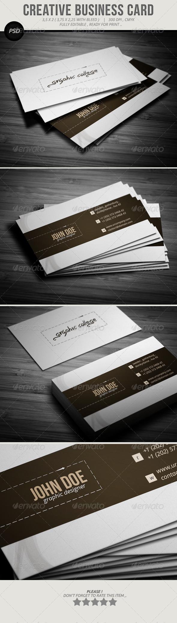 Creative Chin Business Card GraphicRiver u the file include PSD