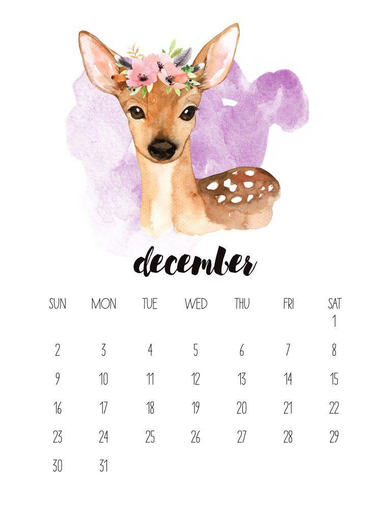 Free Printable 2018 Watercolor Animal Calendar Watercolor