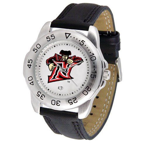 """CS Northridge Matadors NCAA """"Sport"""" Mens Watch (Leather Band) by SunTime. $42.30. Scratch Resistant Face. Calendar Date Function. Rotation Bezel/Timer. This handsome, eye-catching watch comes with a genuine leather strap. A date calendar function plus a rotating bezel/timer circles the scratch-resistant crystal. Sport the bold, colorful, high quality logo with pride.. Save 33%!"""