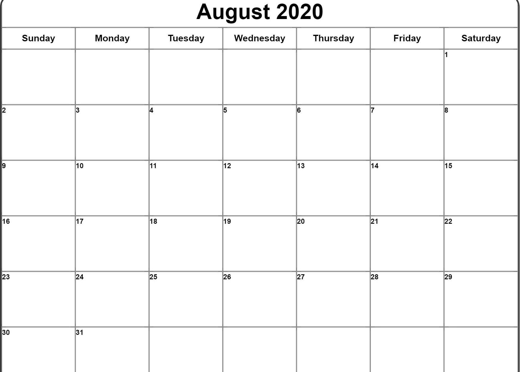 August 2020 Calendar Pdf Word Excel Template August Calendar