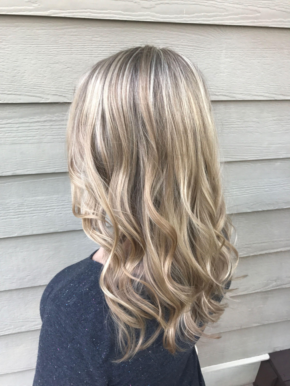Light Blonde Partial Foil Highlights On Medium Blonde Hair Long