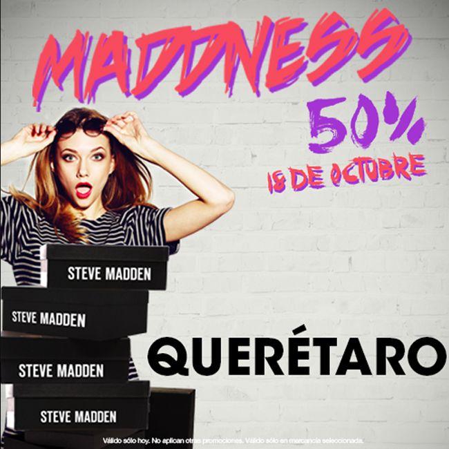 ¡Prepárate para mañana! No puedes dejar de venir a #SteveMadden! 50% de descuento en la tienda. #Maddness