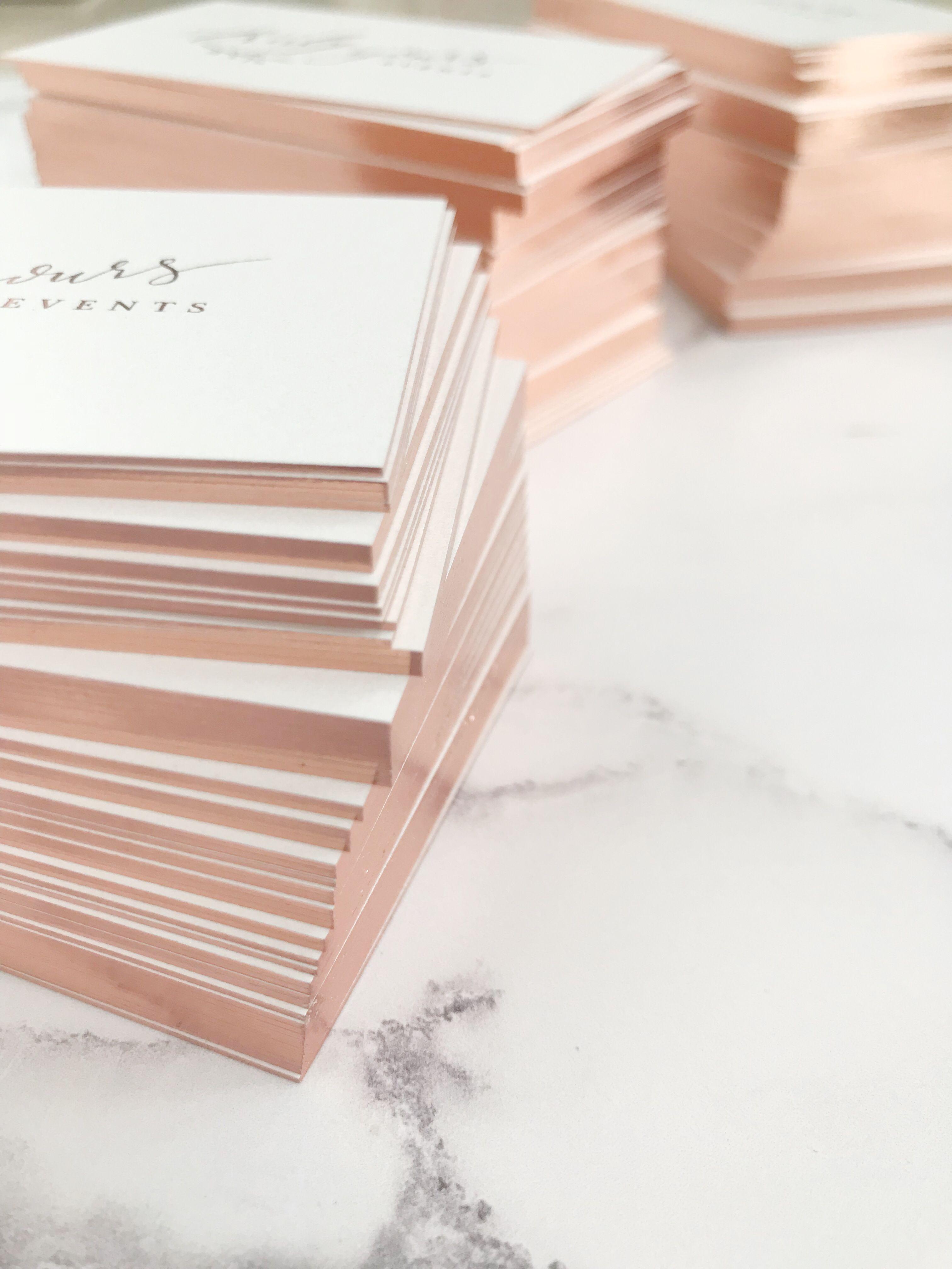 Rose Gold Gilt Edge Business Cards Pretty Business Cards Foil Business Cards Business Cards Beauty