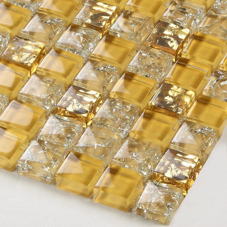 Gold Glass Mosaic Tiles L309 12 X12 Per Sheet Crackle Glass Backsplash Tile With Bling Kitchen And Bathroom And Accent Wall Tiles In 2020 Mosaic Glass Wall Tiles Design Glass Tile