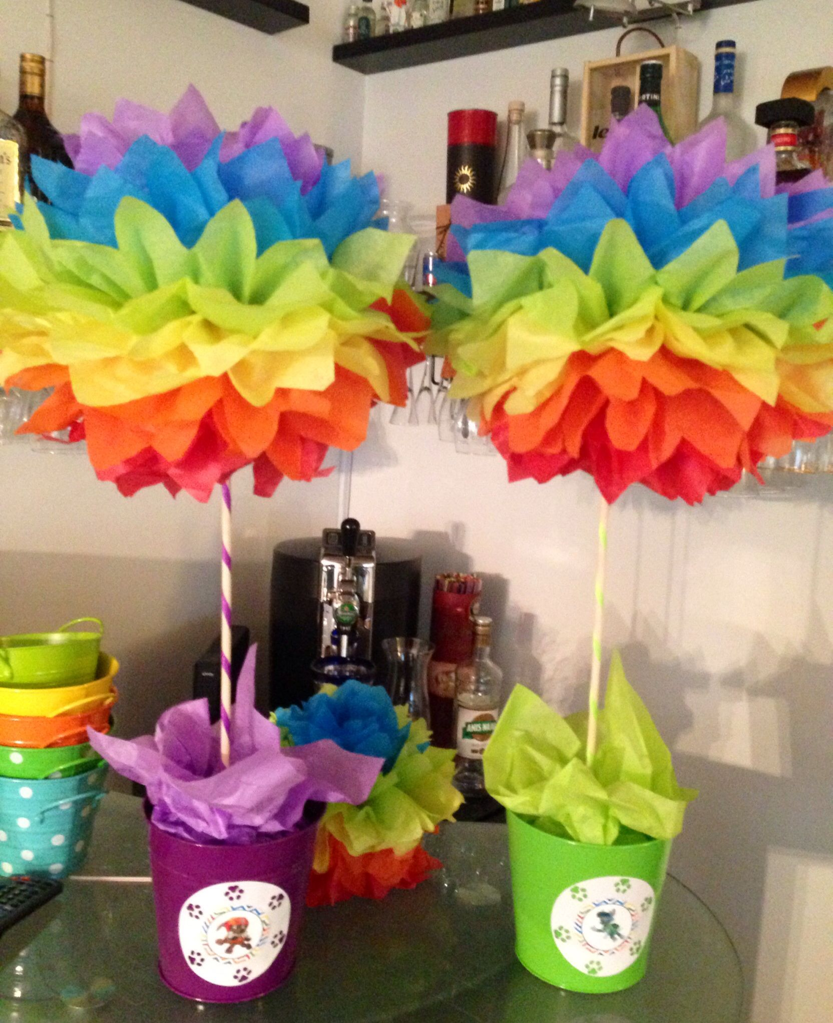 Trolls birthday party decor diy party birthdays and board rainbow paw patrol pompom centerpieces or for troll birthday party dhlflorist Image collections