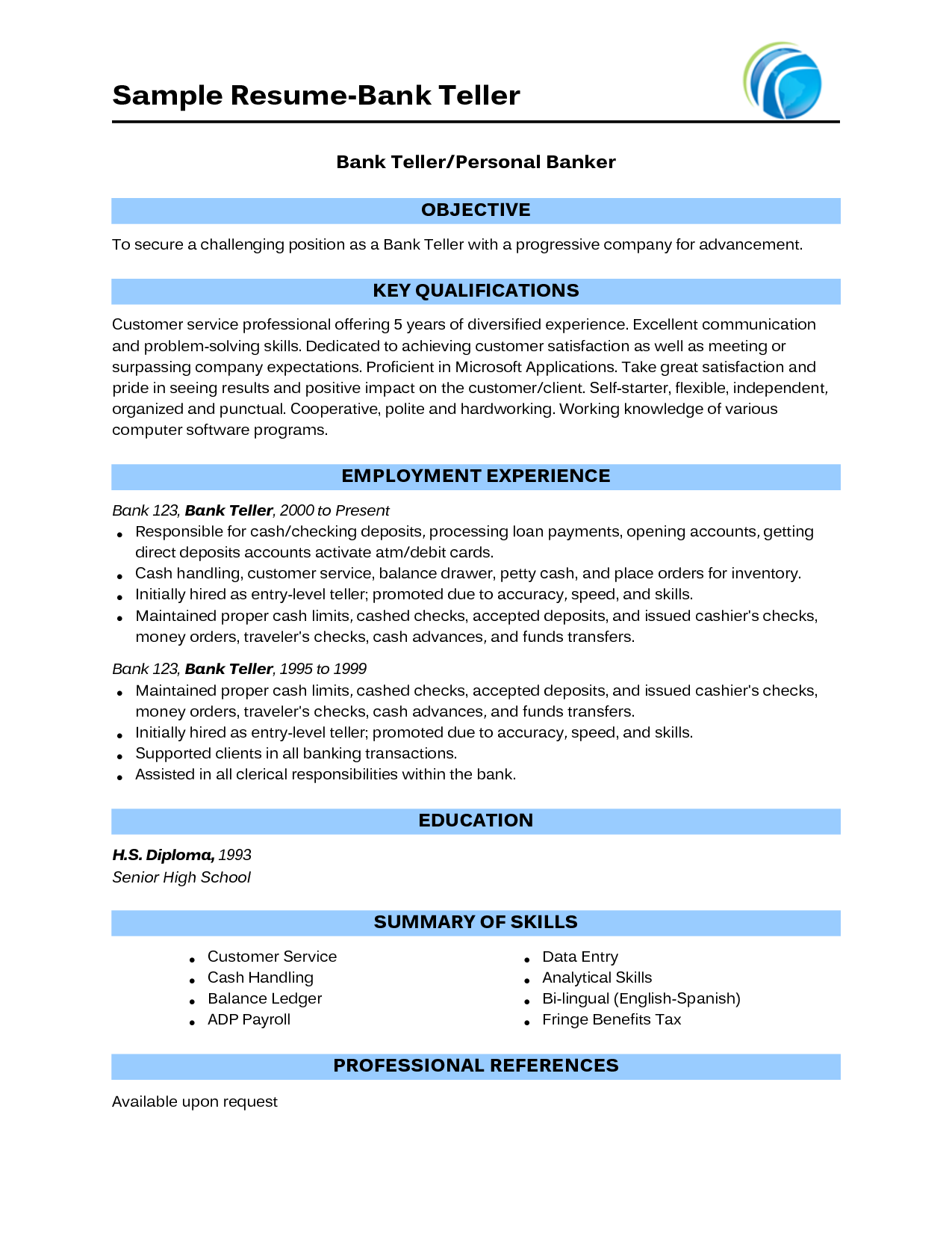 Resume Keywords For Bank Teller Resume teller skills resume sample for bank banking with no experience http www resumecareer
