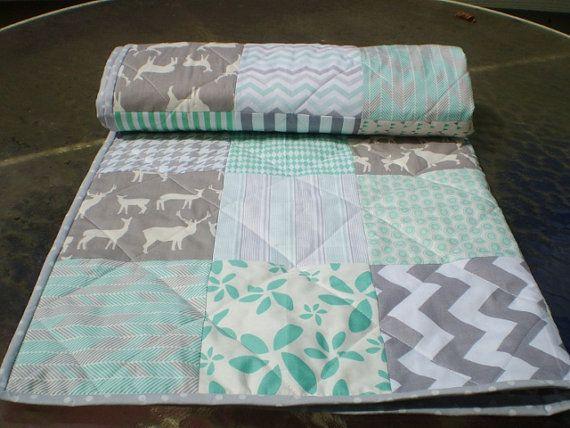 Modern Baby quilt,mint green,grey,patchwork crib quilt,woodland ... : organic baby quilts - Adamdwight.com