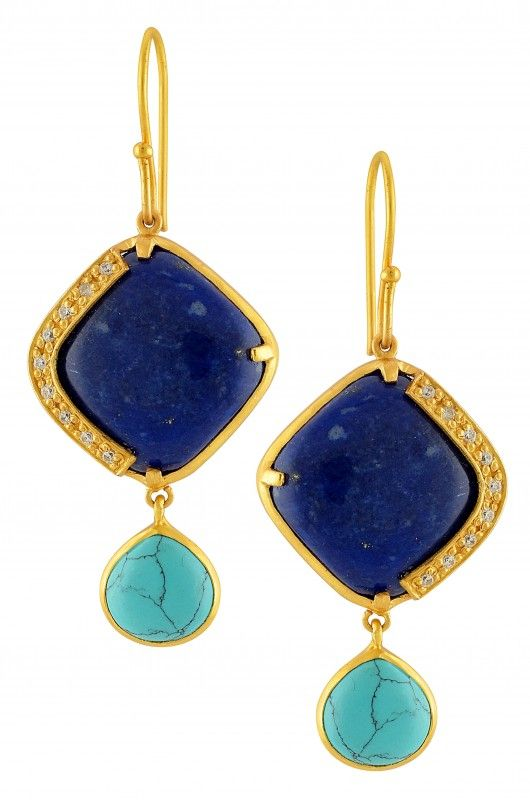Silver Gold Plated Lapis and Turquoise Pear Drop Earrings