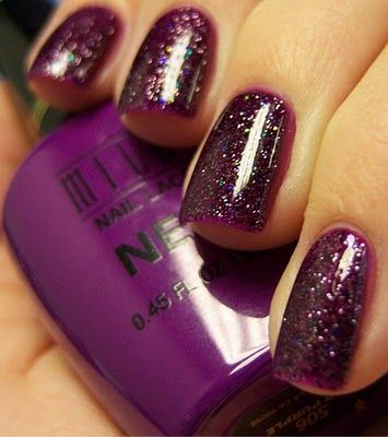 purple with black glitter  chloe nails nails elegant nails