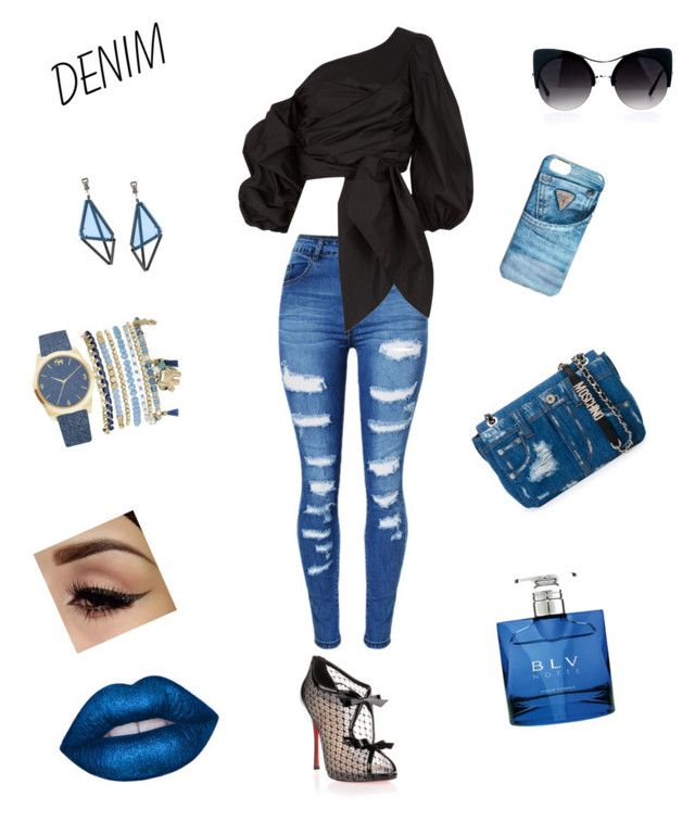 """Denim"" by starrjai ❤ liked on Polyvore featuring Moschino, WithChic, Johanna Ortiz, Christian Louboutin, GUESS, Bulgari, Mixit and Issey Miyake"