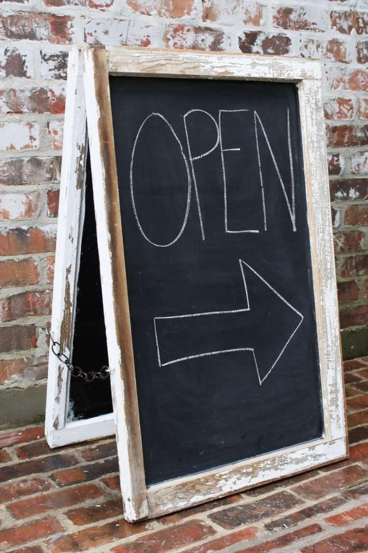 Schild für Cafe oder Lokal aus alten Fensterrahmen und schwarze ...