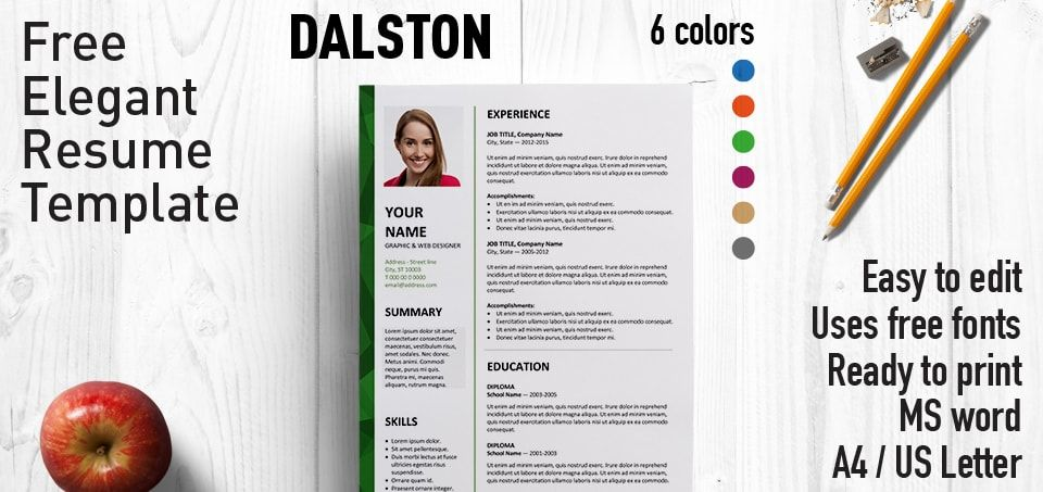 Dalston is an elegant 2-column free resume template with a stylish ...