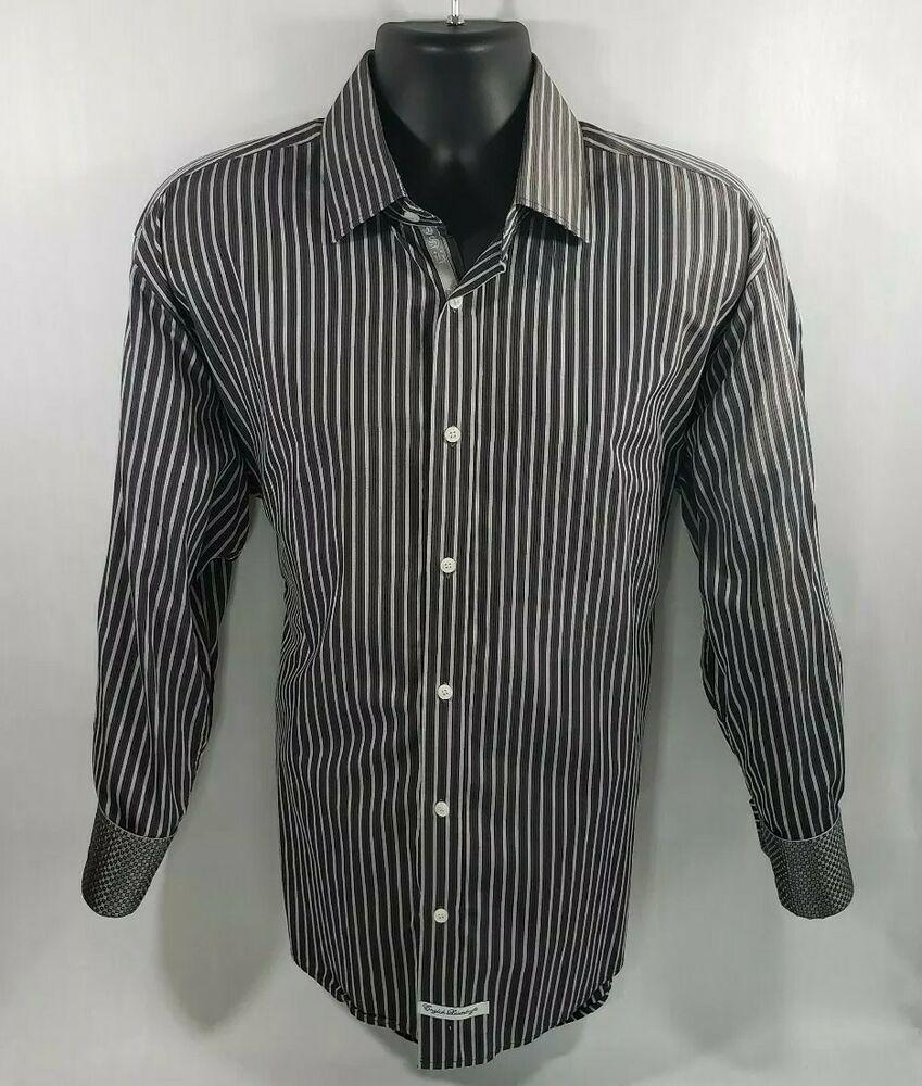 English Laundry Button Down Flip Cuff Long Sleeve Mens Black Grey Designer Shirt Englishlaundry Buttonfront Shirts Mens Shirts Laundry Shirts