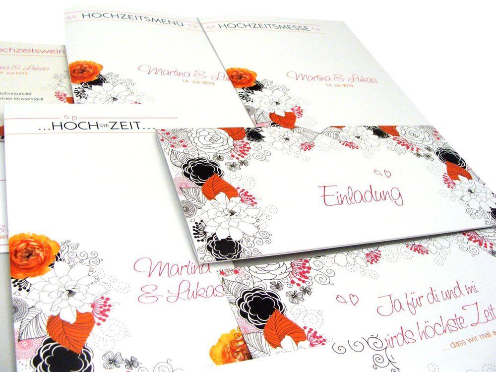 Hochzeitskarten Set Mit Blumen Im Vintage Look Florale