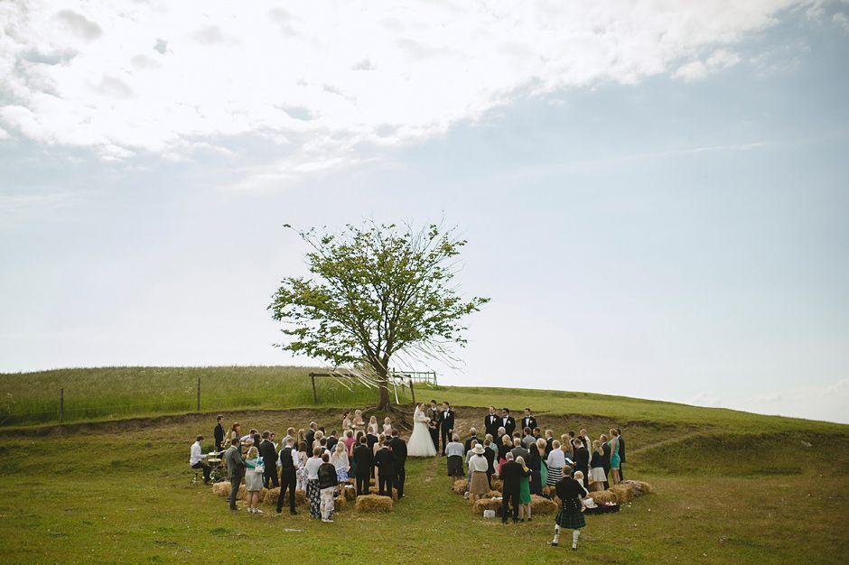Outdoor Swedish summer wedding ceremony.