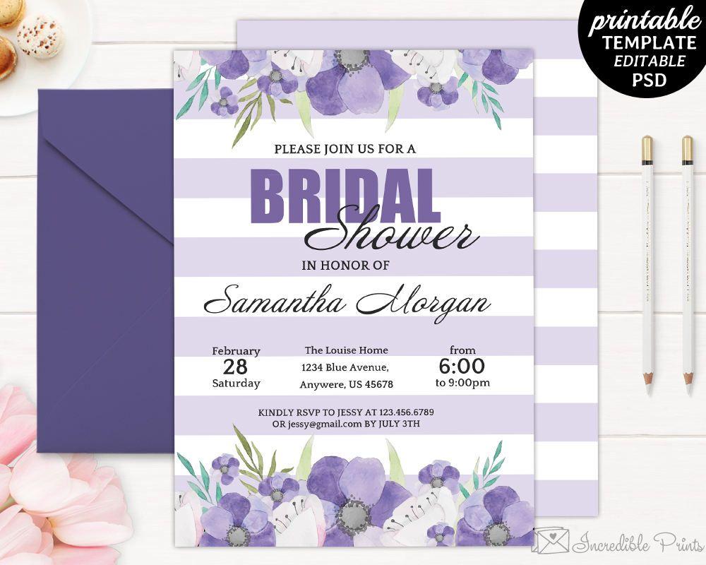 Printable Purple Flowers Bridal Shower Invitation Template - Purple bridal shower invitations templates