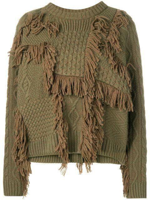 0b8b6eb2dc1 08Sircus Fringe Detail Chunky Sweater - Farfetch ...