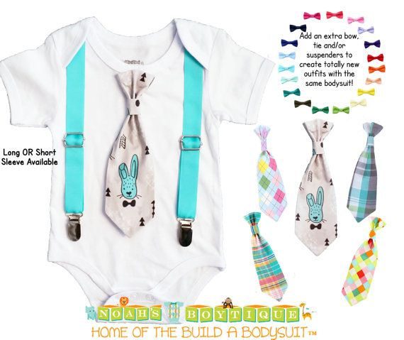 4fba19968e82 Baby Boy Easter Outfit - Easter Bunny Tie and Suspenders - Easter ...