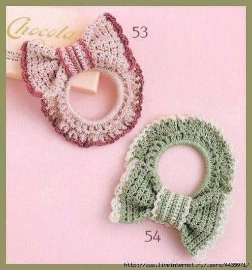 753fc95206b3 Patrón para tejer lindas moñas o coletas con lazos a crochet. Mira ...