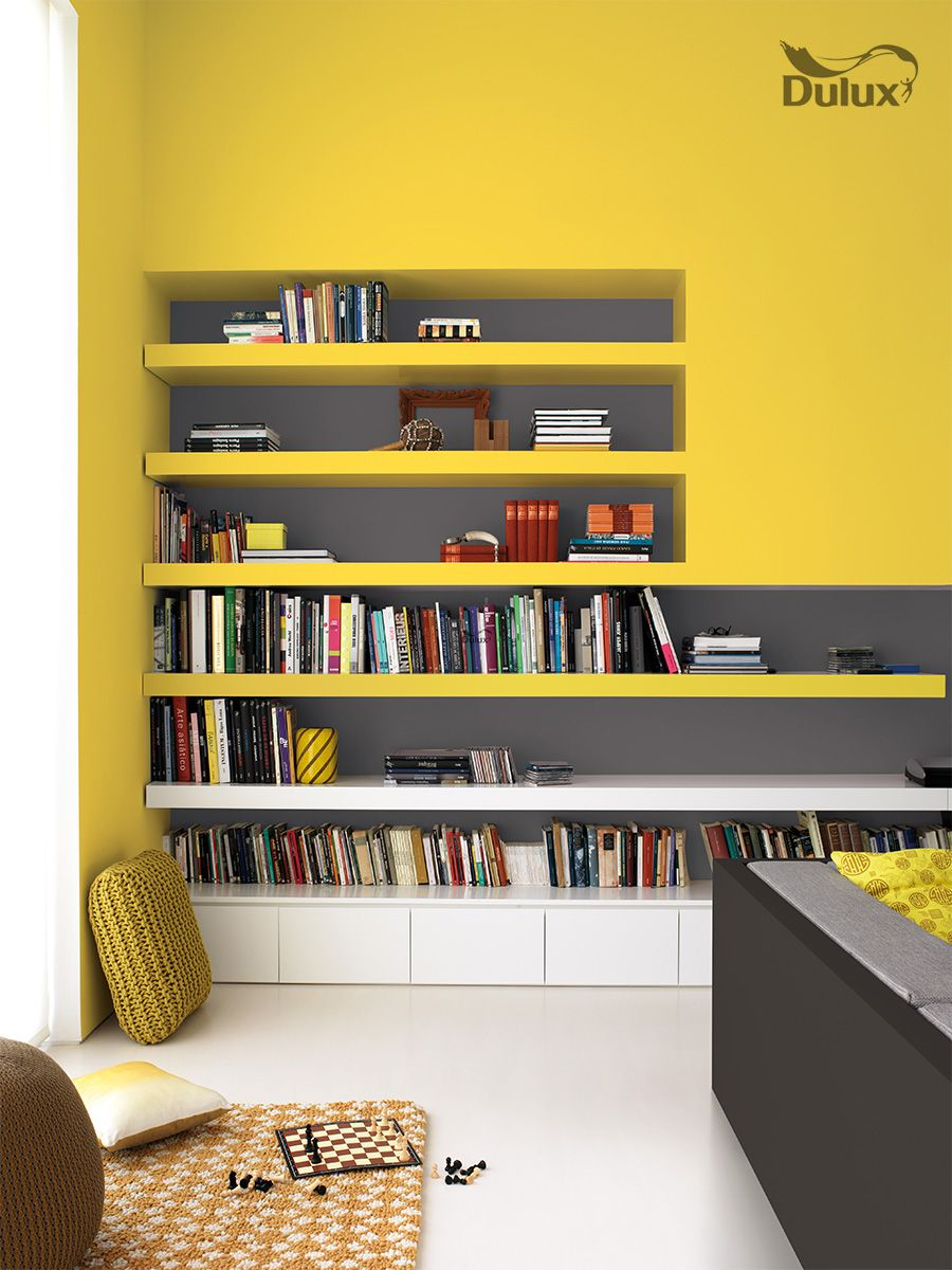 Dulux colour yellow with all shelves and back of for Deco cuisine levis