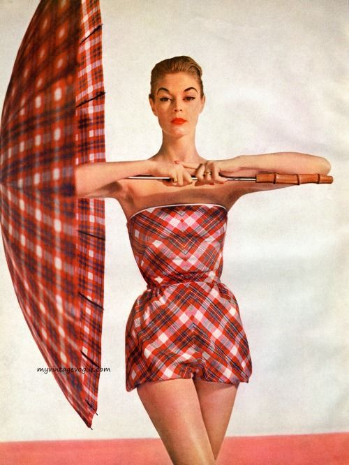 6688560b65cb6 Jean Patchett wearing a swimsuit with matching umbrella from the Simplicity  Pattern Book Summer 1955