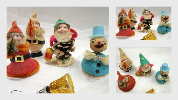 Vintage Christmas Chenille Elves  1950s Christmas by Beadgarden55