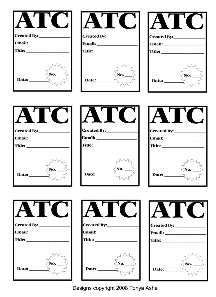 ATC Back Design Sheet No2 Atc cards, Pocket cards and Family - trading card template