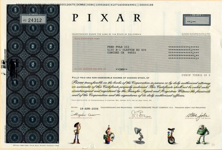 Pixar Stock Certificate Produced Toy Story A Bugs Life