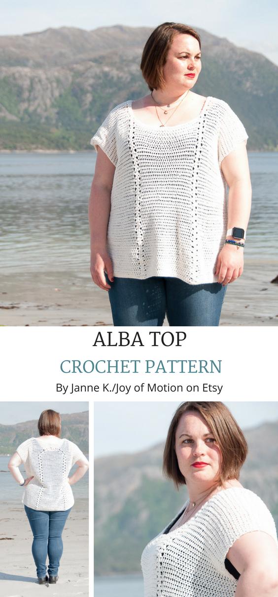 CROCHET PATTERN - Alba Top Crochet Pattern - PFD Crochet Pattern ...