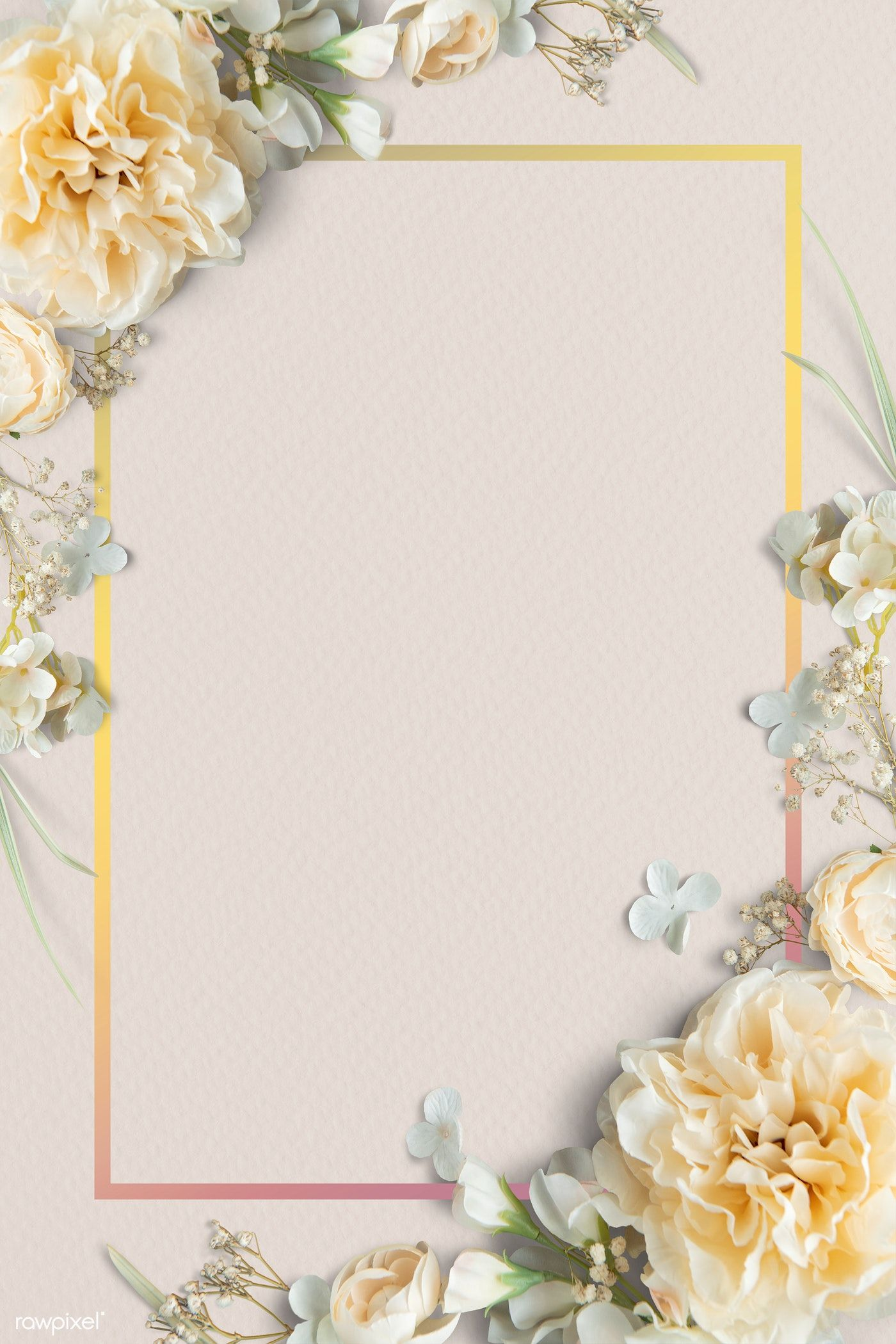 Download Premium Psd Of Blank Blooming Floral Frame Design 1212811