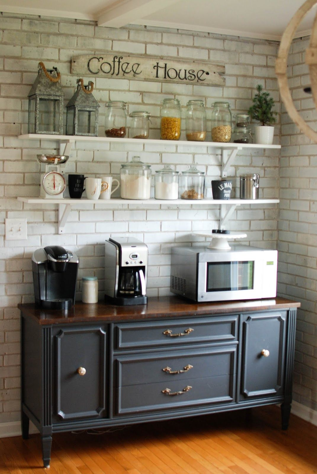 Caught in grace open shelves coffee bar buffet kitchen design