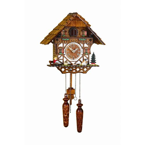 The Hermle Triberg Cuckoo Clock Depicts a typical chalet home from the Black Forest. Colorfully decorated scenery has four dancing figurines that rotate as the minutes pass. The cuckoo presents itself every hour to count the hour and quartz movement chimes the cuckoo call with a waterfall background and features volume control and auto night off.
