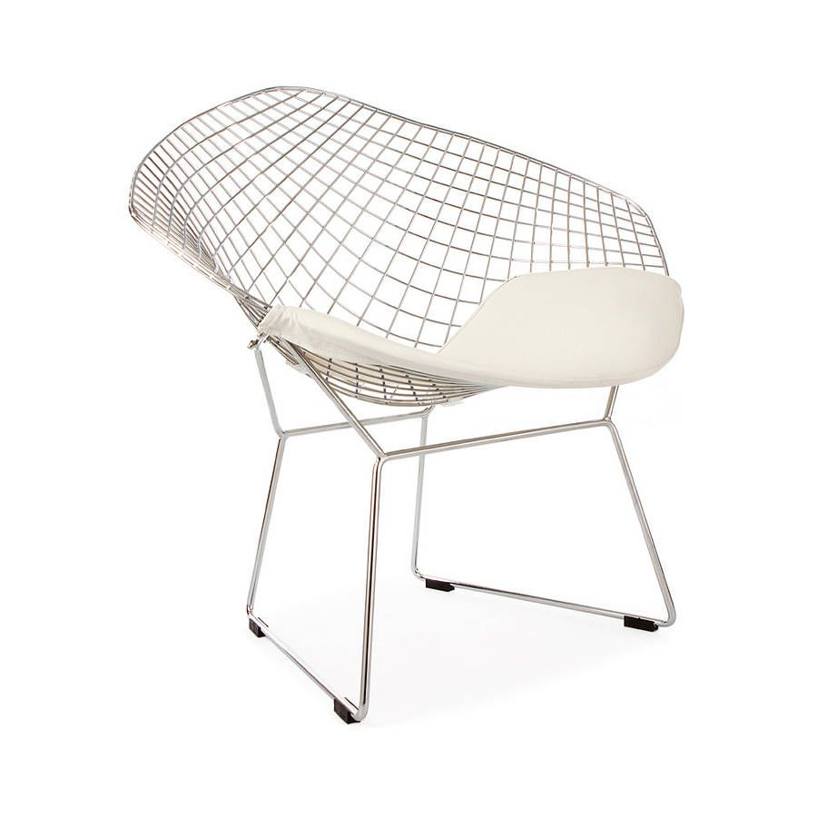 garden or patio chair set four organic shape colours  modern  - a white chrome diamond retro modern chair