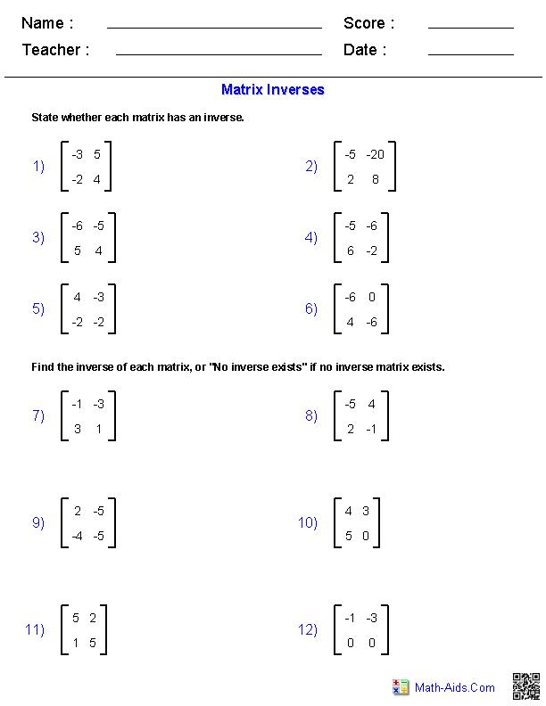 Algebra 2 Worksheets Matrices Worksheets Algebra 2 Worksheets Matrices Math Algebra