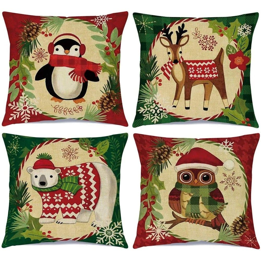 Christmas Pillow Covers Holiday Decor 18x18 inch Set of 4 Winter Animals Decorative Throw Pillow Cases (Multi-color), Multicolor