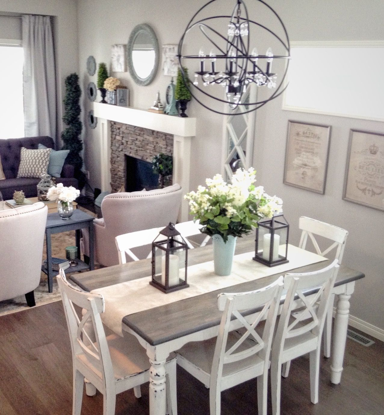 Modern French Country Neutral Grey And White Palette Country Dining Rooms Farmhouse Dining Room Farmhouse Dining Room Table
