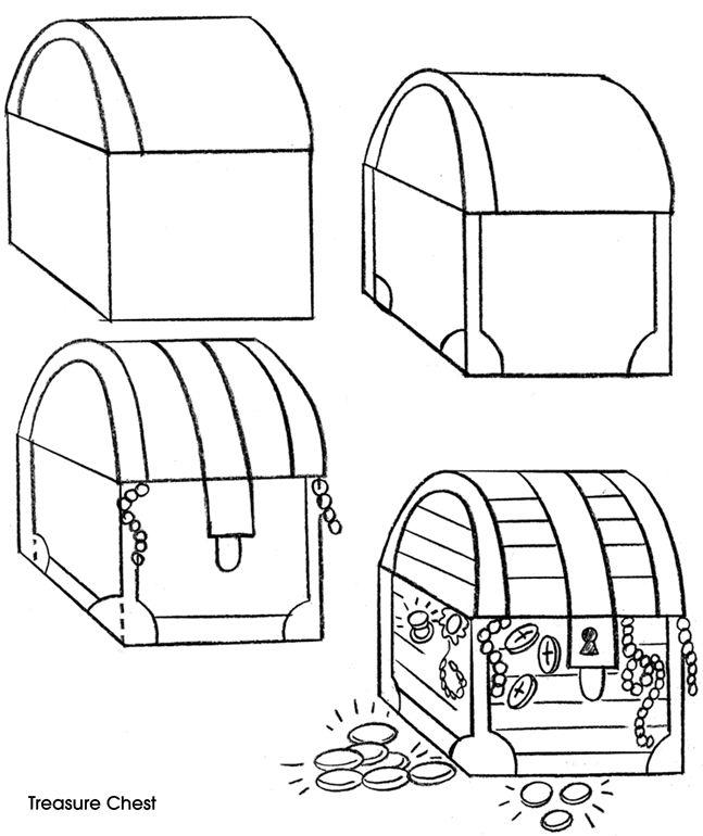 Tapes pour dessiner un coffre aux tr sors pirates en - Dessin de coffre de pirate ...