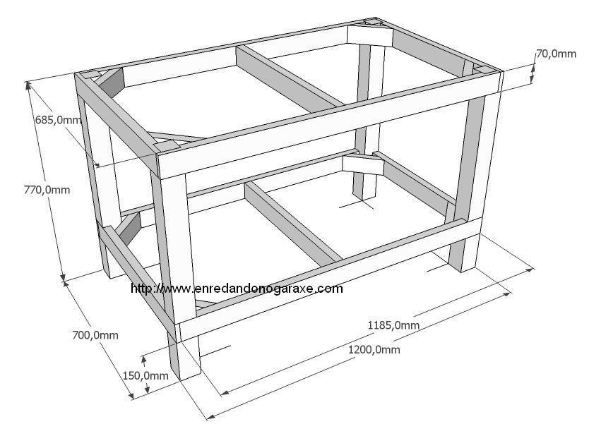 Estructura para mesa de taller enredando no garaxe for Planos de carpinteria de madera